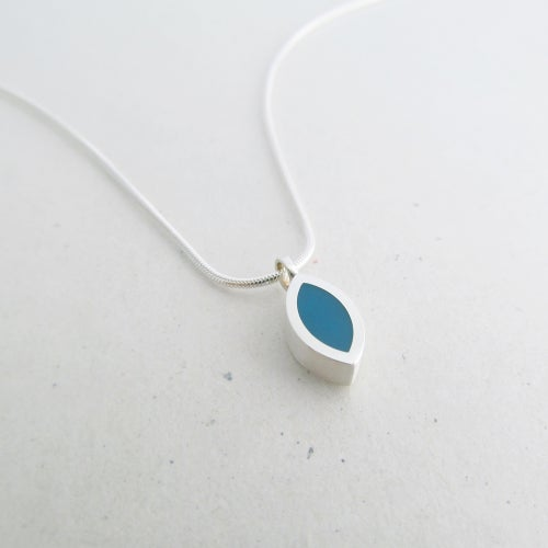 Image of Tiny Silver Leaf Pendant in a Choice of Colours