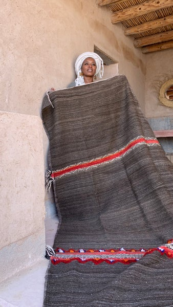Image of Vintage kilim Wool Shadoui - Berber Rug - Gray Brown