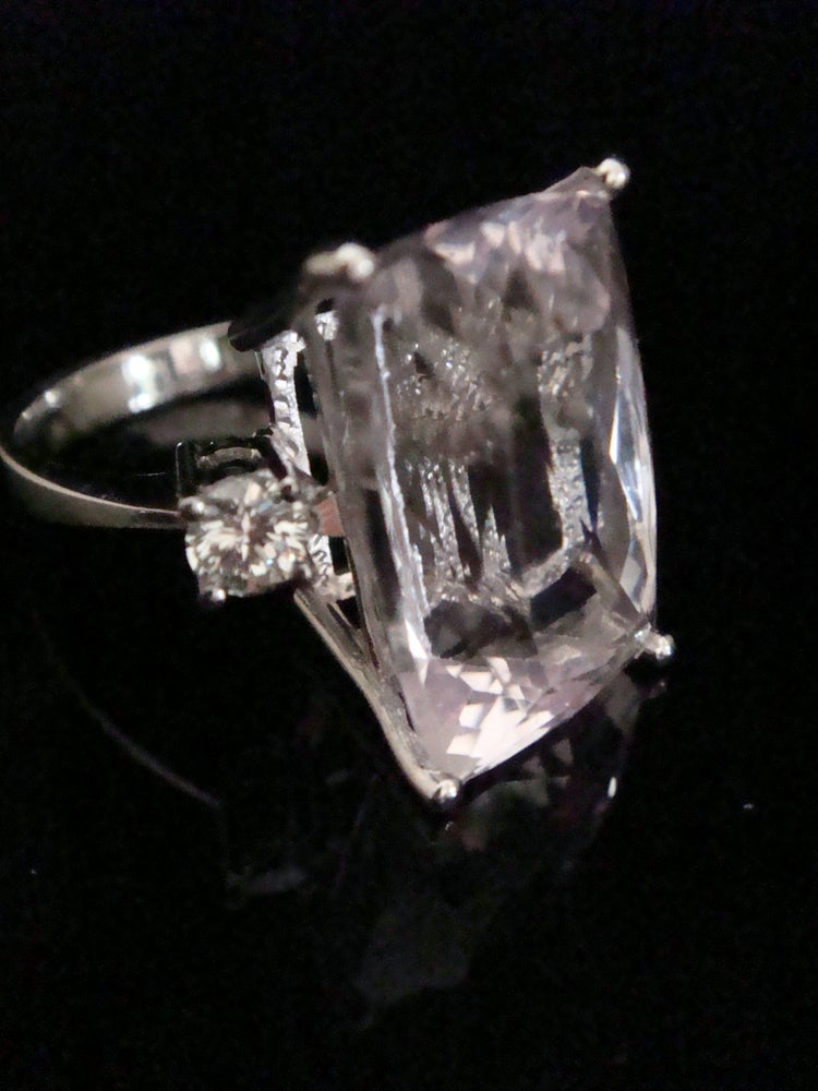 Image of Natural 19ct kunizite and diamond 0.44ct ring set into 18ct white gold