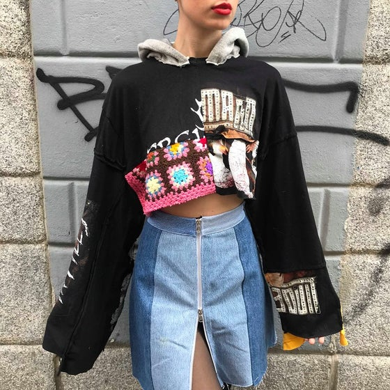 Image of PATCHWORK REWORKED CROP SWEATSHIRT #1