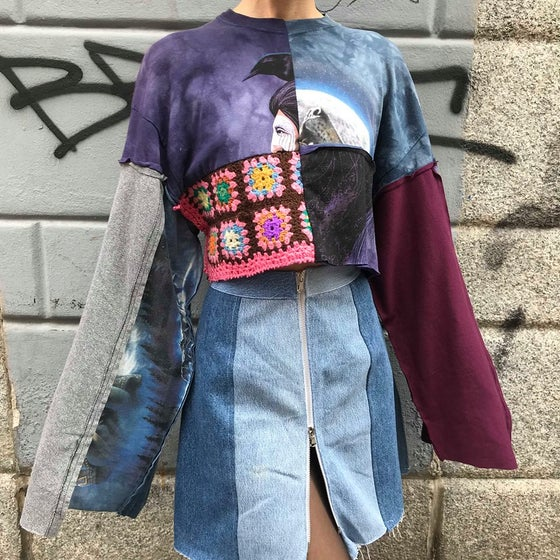 Image of PATCHWORK REWORKED CROP SWEATSHIRT #2