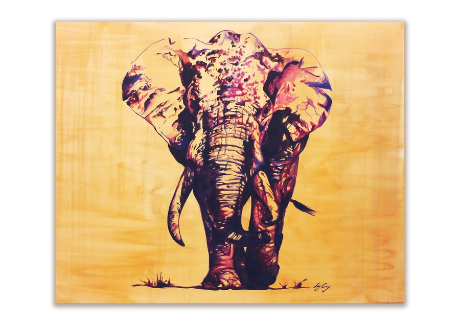 Image of Nelly   Original Elephant Oil Painting