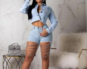 Image of Rips & Chains Denim Shorts