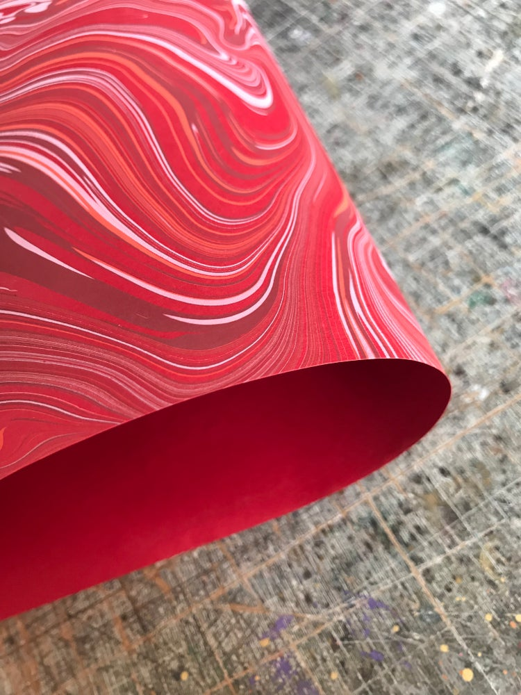Image of Red Plume Agate Hand Marbled paper