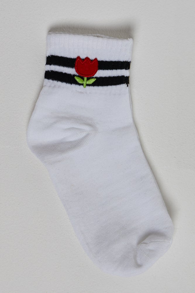Image of Tulip Flower Striped Skater Tube Socks WHITE