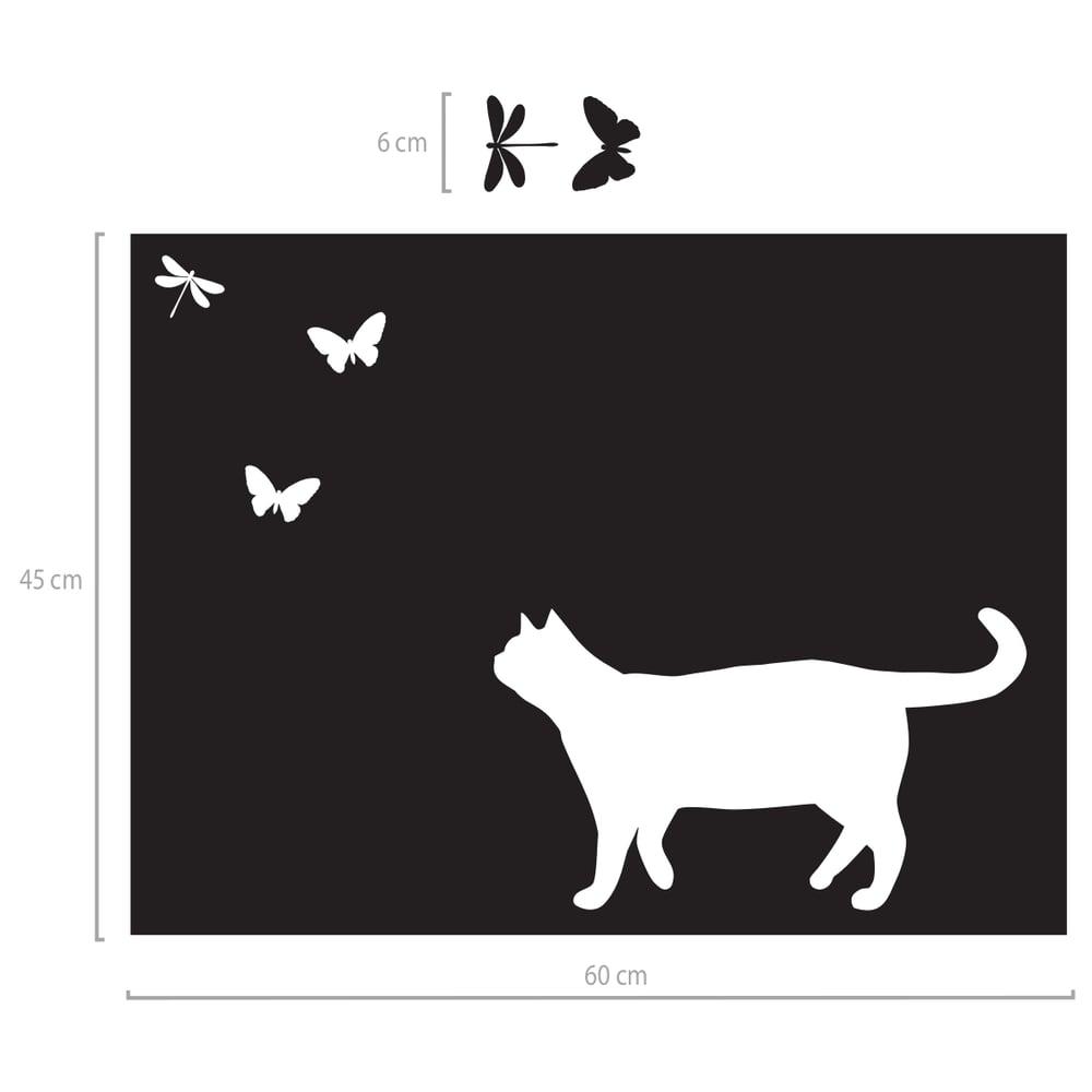 Image of Folie für Glasflächen Sichtschutz mit Katze und Schmetterlingen