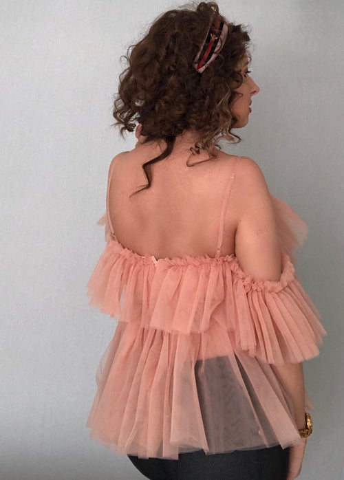 Image of Tulle Ruffle Blouse - Blush
