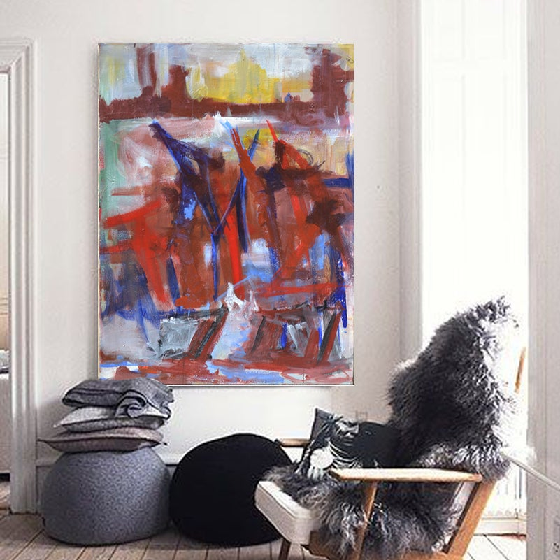 Image of 1970's, Large French Abstract Painting
