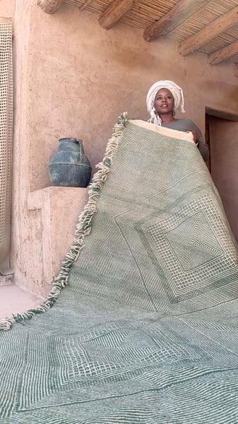 Image of RESERVED FOR RAFAL - Moroccan Kilim Rug - Diamonds Pattern Flatweave green