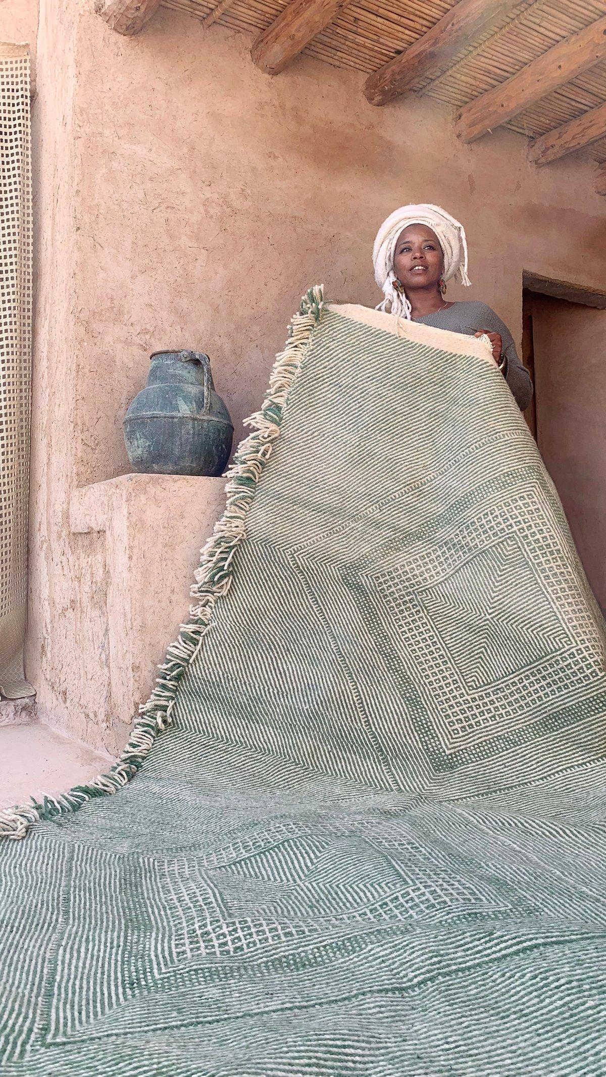 Image of Moroccan Kilim Rug - Diamonds Pattern Flatweave green