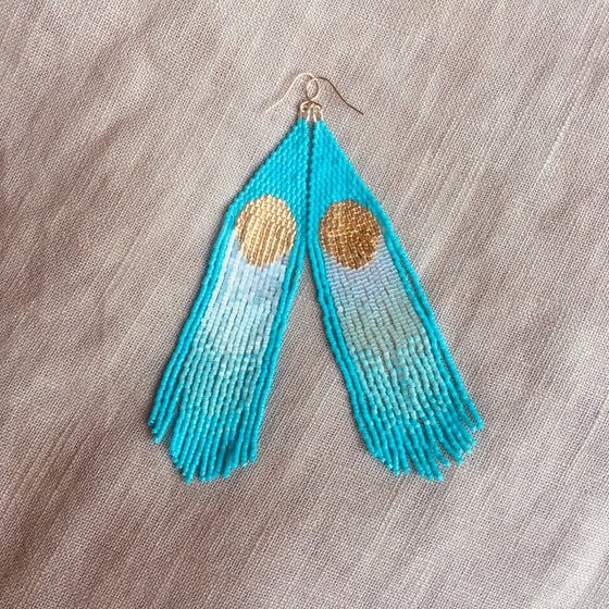 Image of EVENT HORIZON - sun & aqua fringe earrings