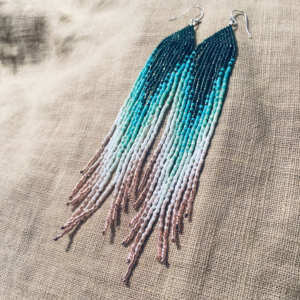 Image of Deep aqua to copper- lined crystal blush fringe earrings