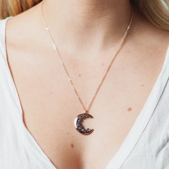 Image of CRESCENT MOON + SMOKEY QUARTZ NECKLACE