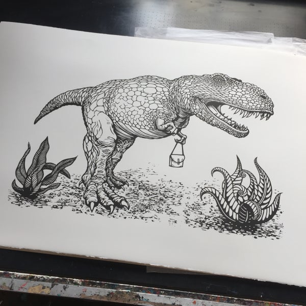 Image of T-Rex with a handbag linocut