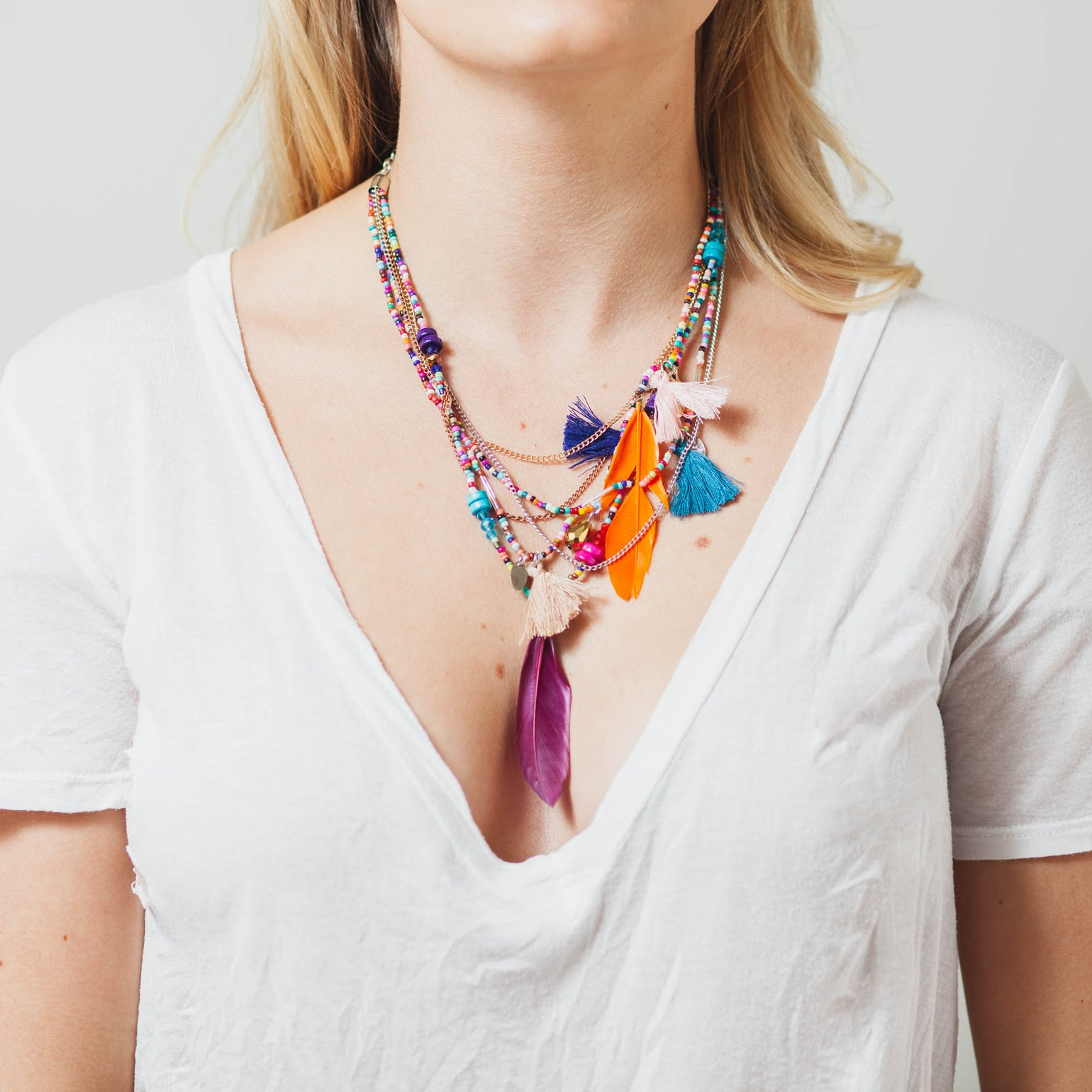 Image of COLORFUL BEADED FEATHER NECKLACE