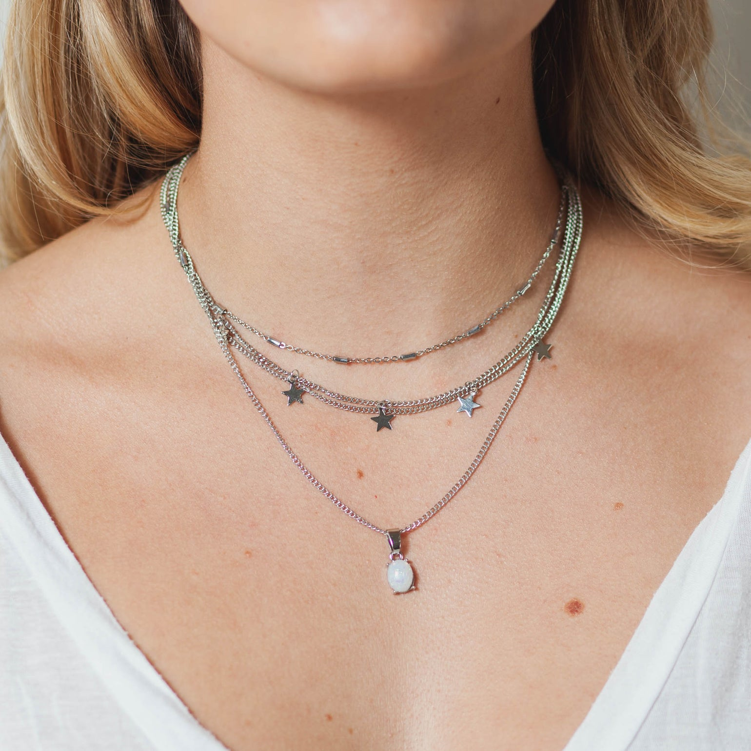 Image of OPAL + STARS NECKLACE