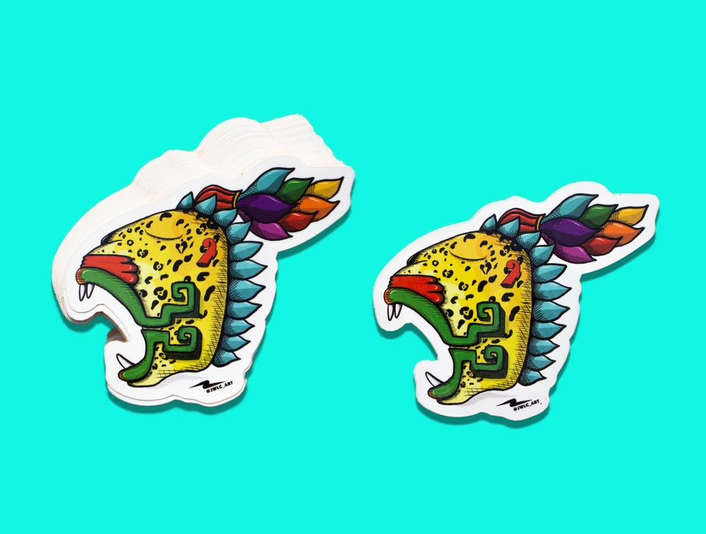 "Image of Die Cut Sticker - ""Jaguar Emplumado"""