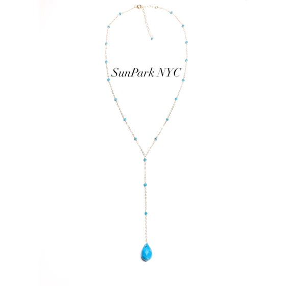 Image of Handcrafted Turquoise x Gold Lariat Necklace