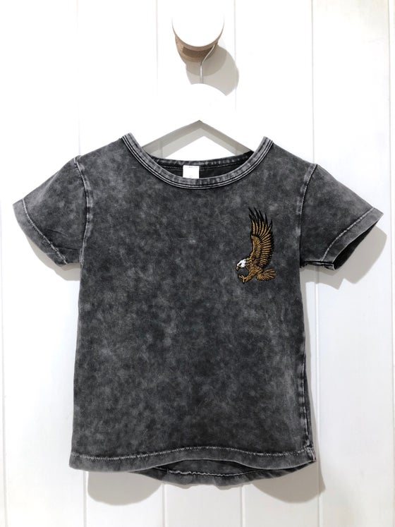 Image of Embroidered Eagle - Stonewash Long Back Tee