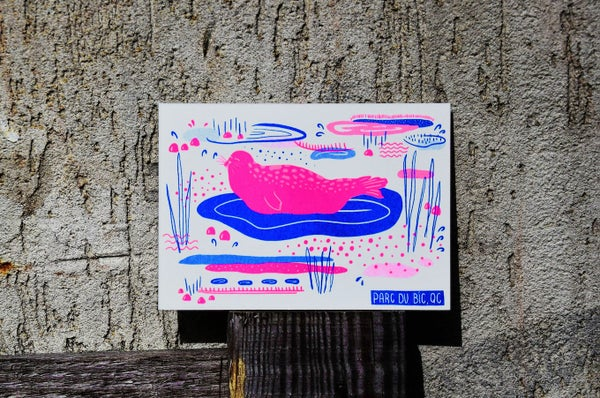 Image of Phoque, Carte A6 imprimée en risographie