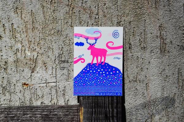 Image of Caribou, carte A6 imprimée en risographie