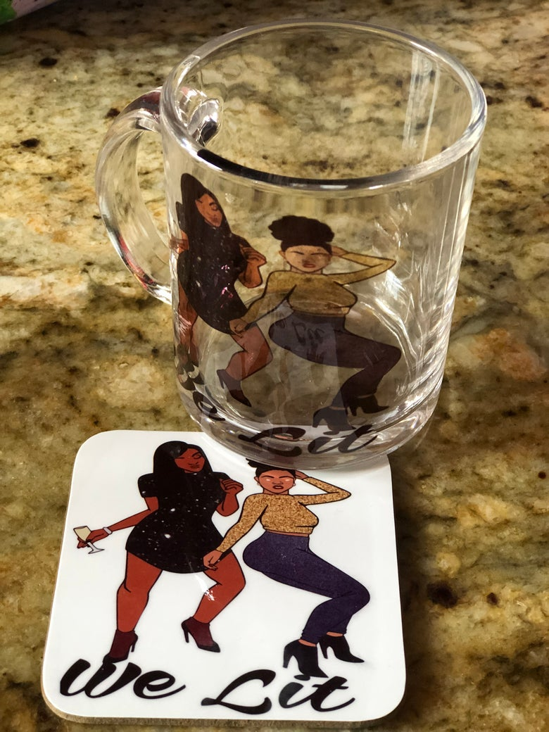 Image of We Lit 🔥 Mug and Coaster Set