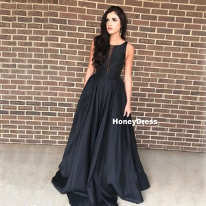 Image of Black Satin Scoop Neck A-line Princess Prom Dresses, Formal Gowns With Pockets