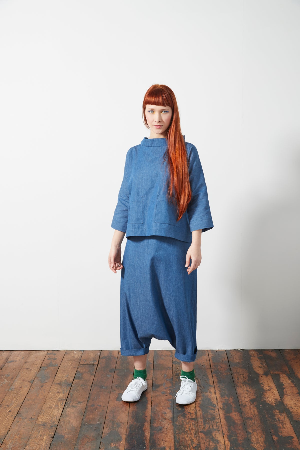 Image of Chambray and Denim Sarouel Tie Waist Trousers