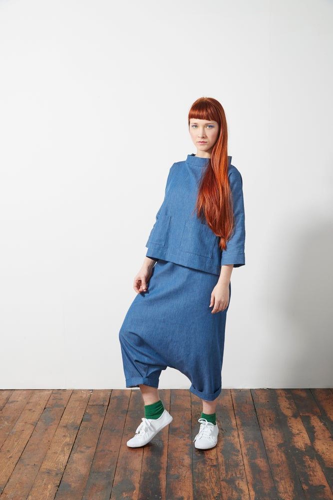 Image of Chambray Sarouel Ruched Waist Trousers