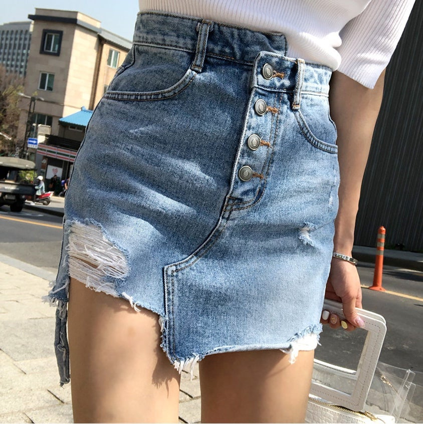 Image of GLAMOURFOXX LUXE Asymmetrical distressed denim jean skirt