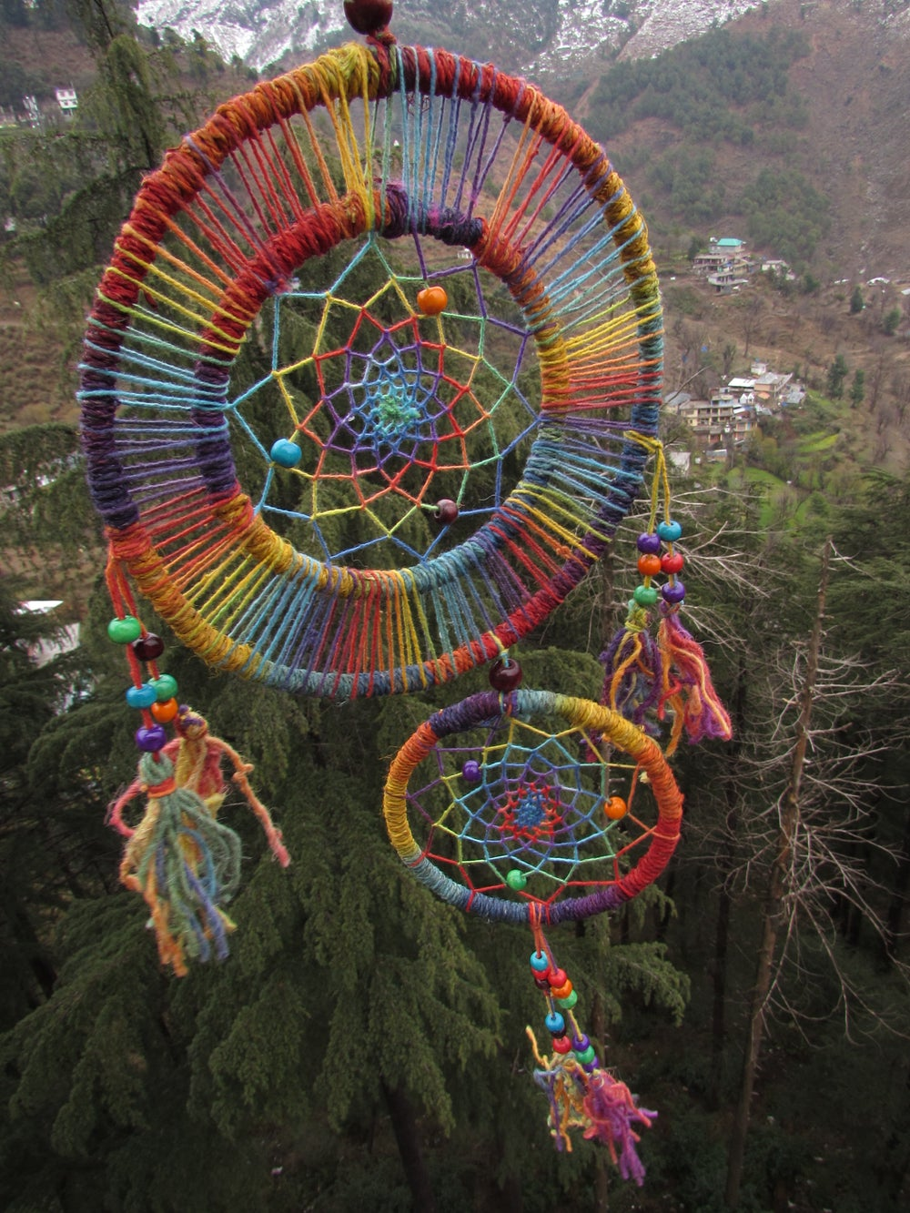 Himalayan Hemp Dream Catcher Double Hoop | Cruelty Free | 100% Vegan | Eco Friendly | Handmade