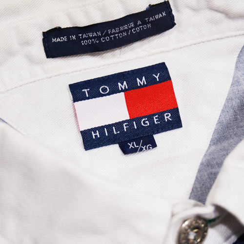 Image of Tommy Hilfiger 1/4 Button Up Vintage Color Block Shirt Size XL