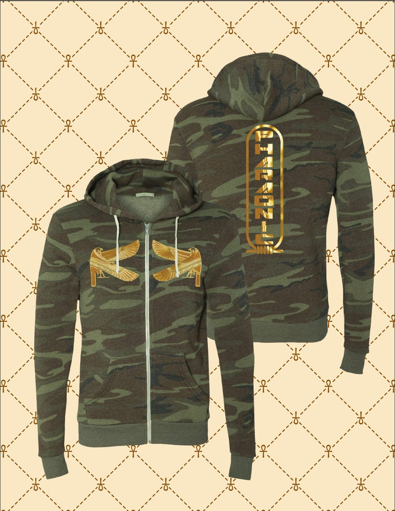 Image of Men's/Women's Gold HRU/ Double HRU/Shen Pharaonic Logo Camo Zip Up Hoodie