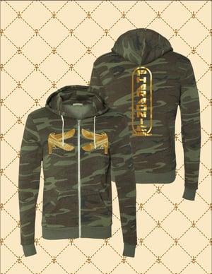 Image of Men's/Women's Gold HRU/ Double HRU/Shen Pharaonic Logo Camo Zip Up Hoodie