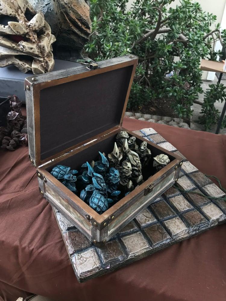 Image of Painted chess set. 32 figures. Blue vs bone.