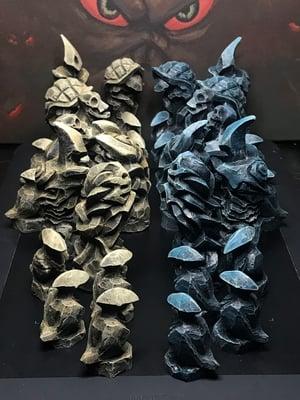 Painted chess set. 32 figures. Blue vs bone.