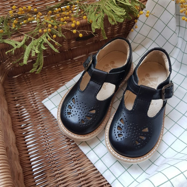 Image of ROSIE T-BAR SHOE BLACK LEATHER | BABY