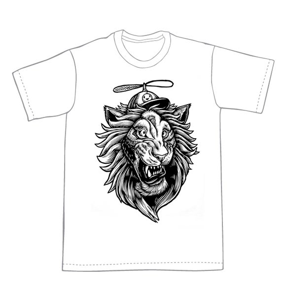 Image of Helicopter Lion T-shirt **FREE SHIPPING**