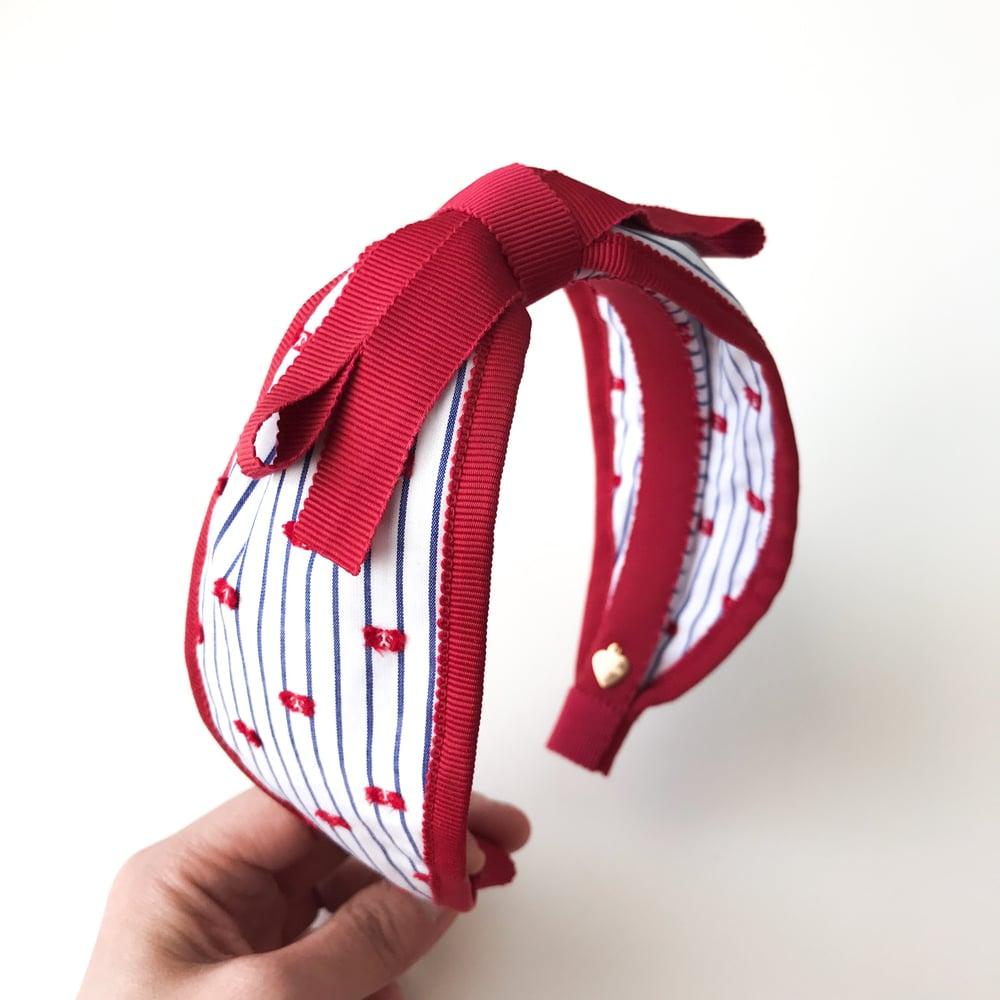Image of RED TRIM WIDE HEADBAND