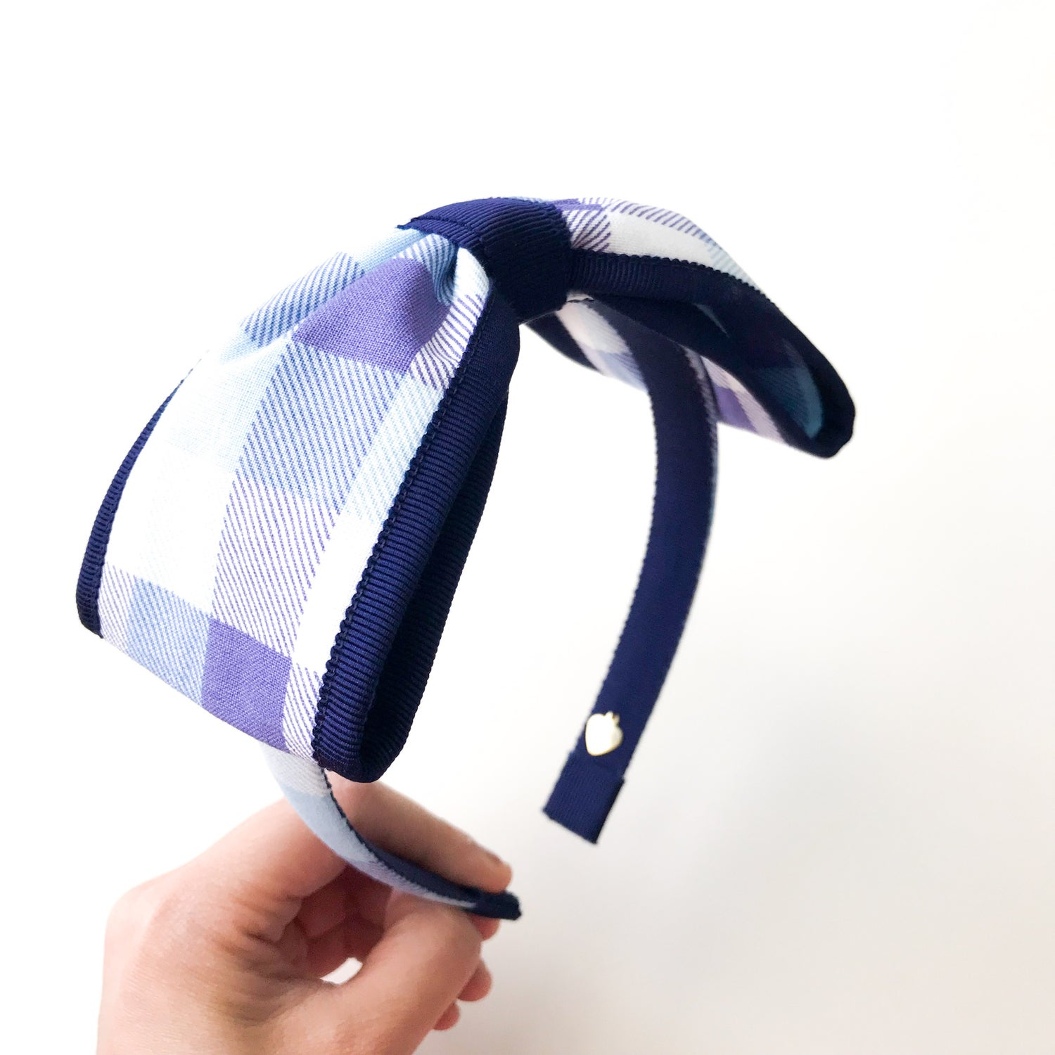 Image of NAVY TRIM CHECKED BOW HEADBAND