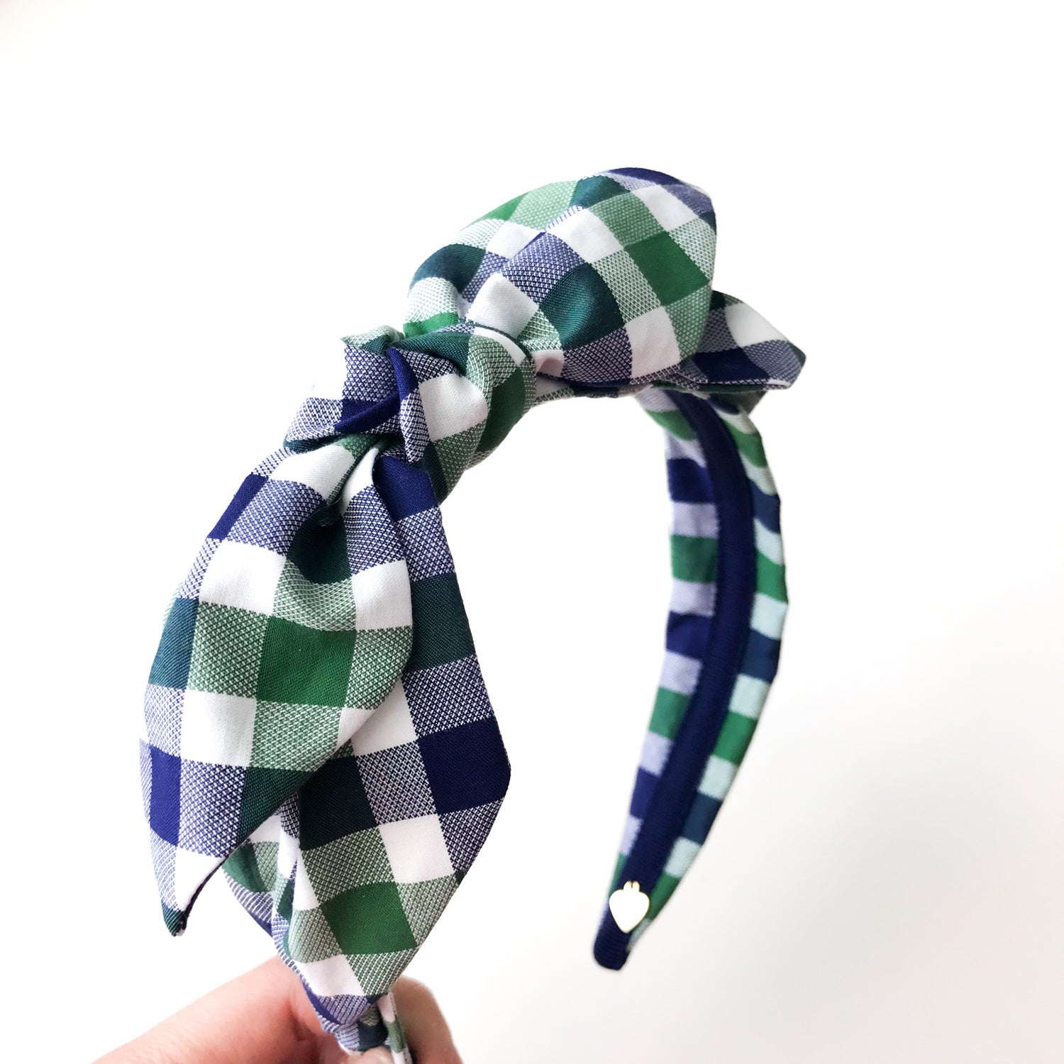 Image of CHECKED DOUBLE LAYER BOW HEADBAND
