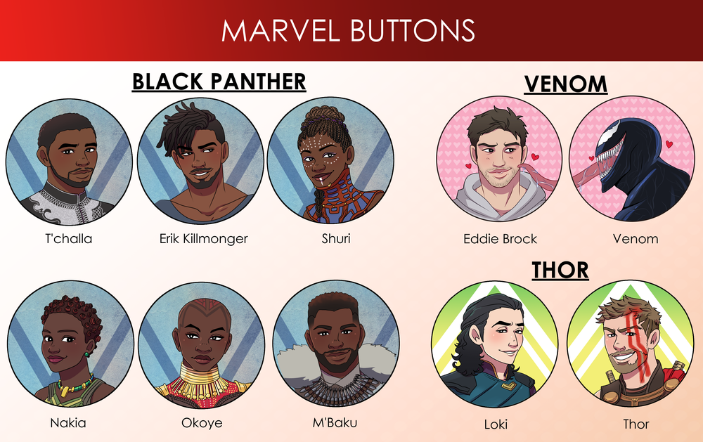 Image of Marvel Buttons (Black Panther, Thor, Venom)