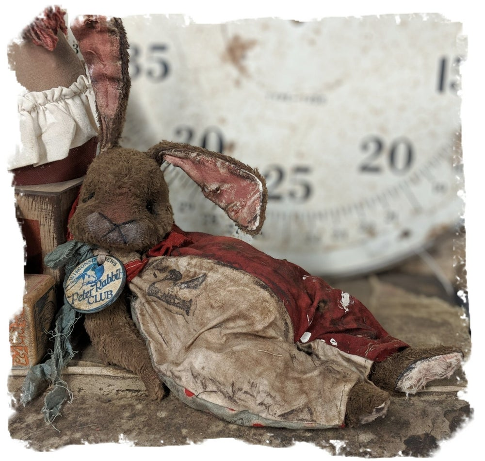 Image of Old Frumpy Worn Carnival Rabbit in romper by Whendi's Bears