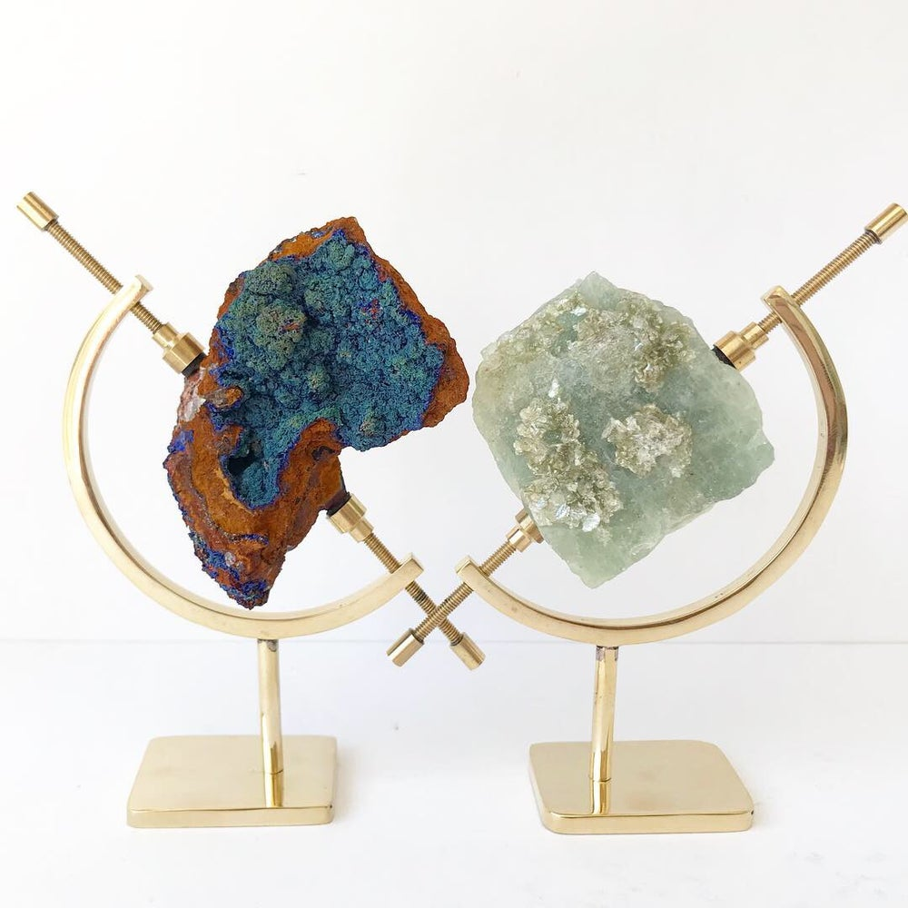 Image of Azurite/Malachite no.142 + Brass Arc Pairing