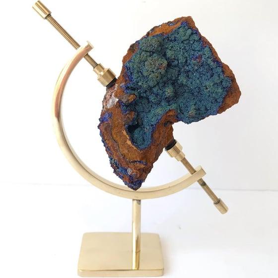 Image of Azurite/Malachite no.142 + Brass Arc Pairing