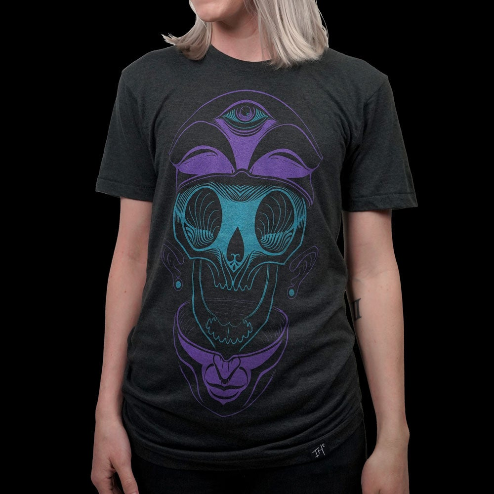 Image of SPLIT HEAD T-SHIRT (PURPLE + TEAL)