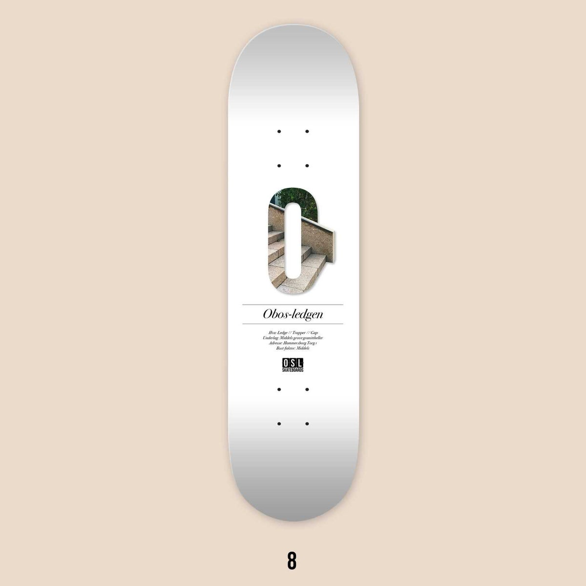 Image of OSL Skateboards. Obos-ledge, 8""