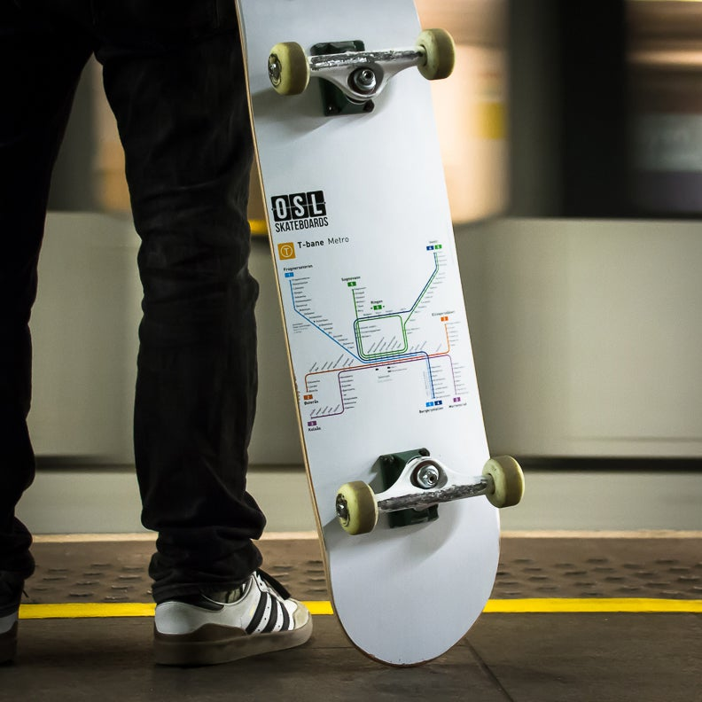 Image of OSL Skateboards. Oslo Metro-map, 8.125""