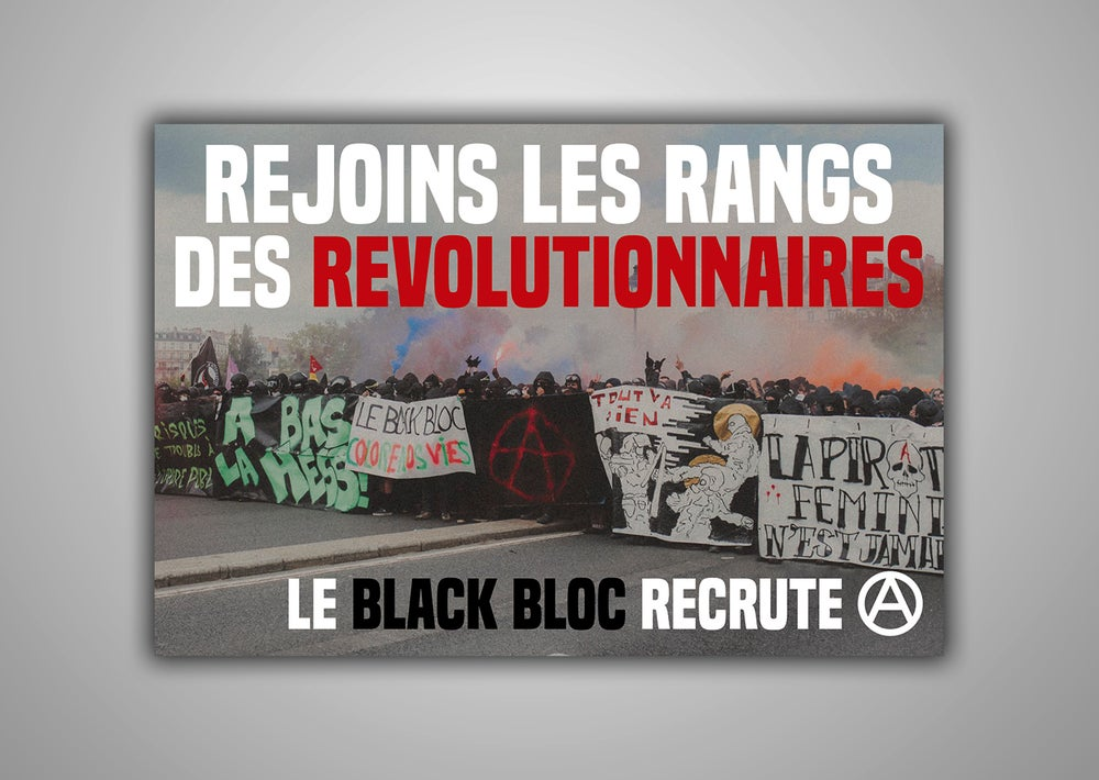 "Image of 100 Autocollants ""REJOINS LES RANGS DES REVOLUTIONNAIRES LE BLACK BLOC RECRUTE"""