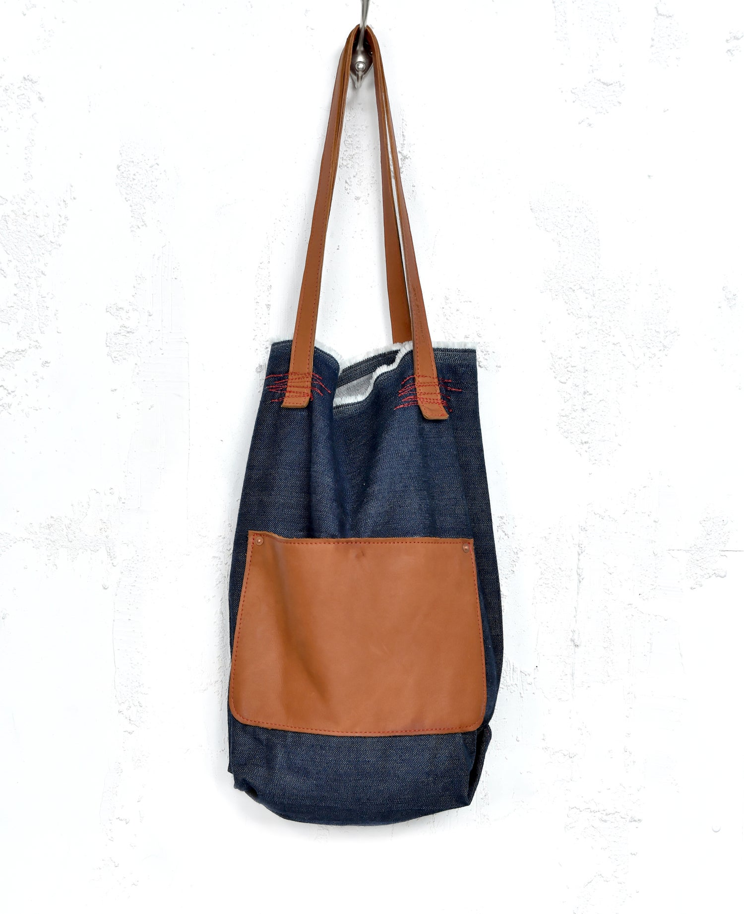 Image of Summer Boho Shopper, Denim Leather Tote Bag
